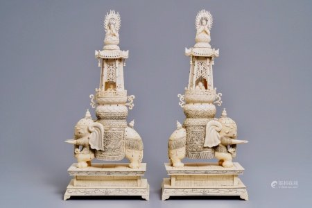 A pair of large inlaid Chinese ivory groups of Buddha and Guanyin on an elephant, 19th C.