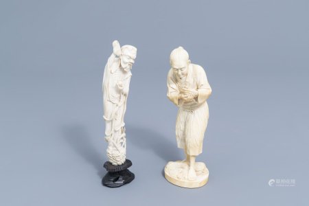 A Japanese ivory okimono and a Chinese figure of an immortal, 19th/20th C.