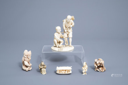 Five various Japanese ivory netsuke and okimono, Meiji, 19th/20th C. & a Chinese Canton shell with figures in a landscape, 19th C.