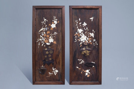 Two Japanese wooden panels with ivory, lacquer and mother-of-pearl inlay, Meiji, 19th C.