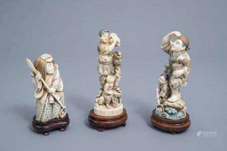 Three various Japanese ivory okimono with polychrome decoration, Meiji/Showa, first half of the 20th C.