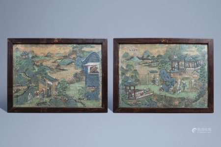 Chinese school, ink and colours on paper, 19th C.: Two animated mountain landscapes