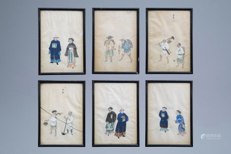 Chinese school, ink and colours on paper, early 20th C.: Six couples