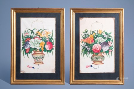 Canton school, China, 19th C., colour on pith paper: Two fine flower vases