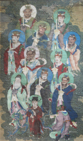 Chinese school, ink and colour on silk, Qing: Heavenly kings