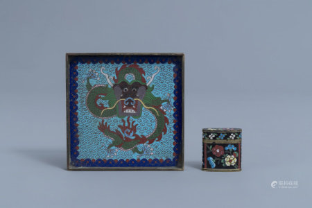 A Chinese square cloisonné opium tray with a dragon and an opium box and cover with floral design, 19th C.