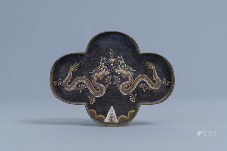 A Chinese quadrilobed cloisonné opium tray with dragons chasing the pearl, 19th C.
