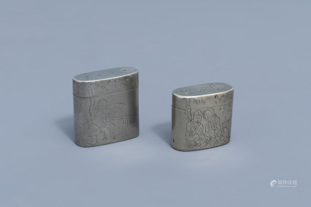 Two Chinese paktong opium boxes and covers with a lady and a couple on a terrace, 19th C.