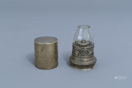 A Chinese paktong opium travel lamp, ca. 1900