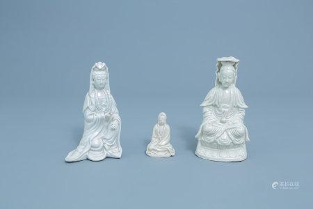 Three Chinese Dehua blanc de Chine figures of Guanyin, Kangxi and later