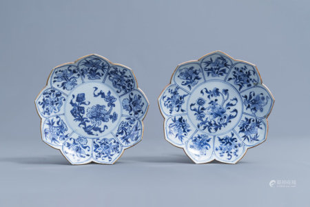 A pair of Chinese blue and white lotus dishes with floral design, Kangxi