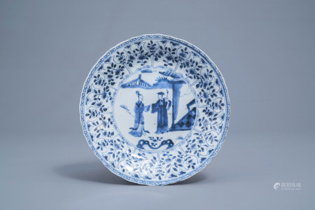 A Chinese blue and white 'Romance of the Western Chamber' plate, Kangxi