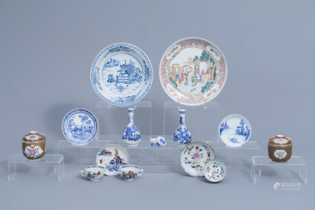 A varied collection of Chinese famille rose, blue, white and Japanese porcelain, 18th C. and later