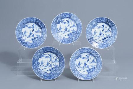 Five Chinese blue and white 'Romance of the Western Chamber' plates, Yongzheng:Qianlong
