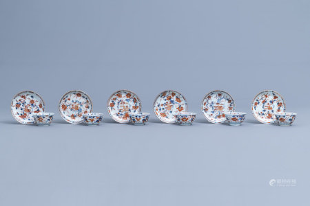 Six Chinese Imari style cups and saucers with floral design, Kangxi/Qianlong