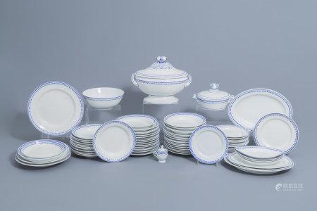 A 75-piece blue and white Tournai porcelain part service, 19th C.
