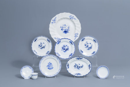 A varied collection of blue and white Tournai porcelain, 18th/19th C.