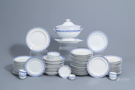 A 93-piece blue and white Tournai porcelain part service, 19th C.