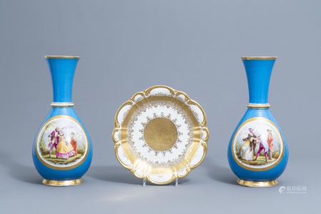 A pair of French 'bleu celeste' ground vases with gallant scenes and a German gilt charger, 20th C.