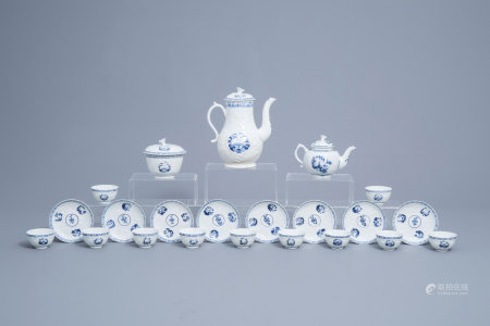 An English 22-piece blue and white Lowestoft creamware 'Hughes' coffee and tea service, second half of the 18th C.