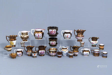 A varied collection of English lustreware items, 19th C.