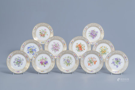 A set of eleven French plates with gilt and polychrome floral design, Sèvres mark, 19th C.