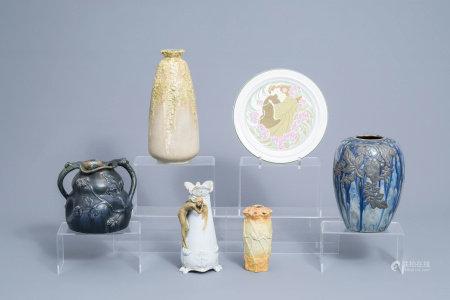 Five various polychrome decorated Art Nouveau vases and a Lunéville plate, various origins, 20th C.