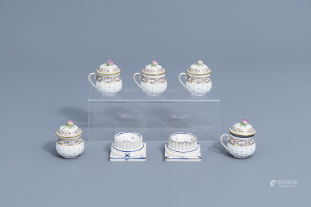 A pair of bue and white faience fine salts and five covered cream jars, Luxemburg and France, 18th/19th C.