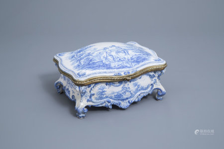 A blue and white Delft style gilt mounted box and cover, Jean et Cie Vierzon mark, France, ca. 1900