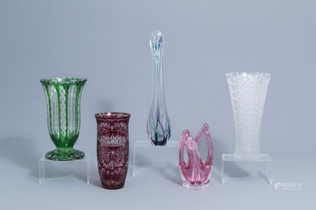 Five clear and partly coloured overlay crystal cut and glass vases, a.o. Val Saint Lambert and Maastricht, 20th C.