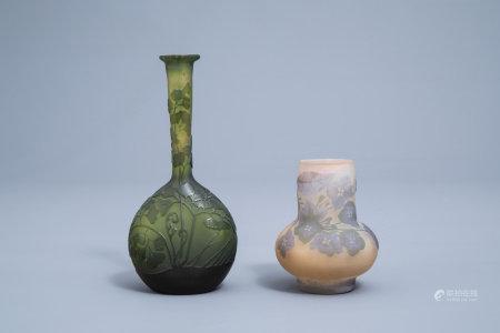 Emile Gallé (1846-1904): Two cameo glass Art Nouveau vases with floral design, 20th C.