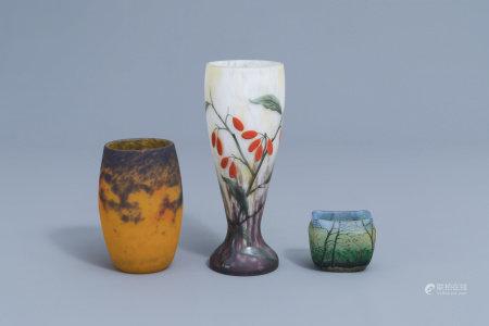 A Legras 'automne' vase, a pâte de verre Frères Muller Lunéville vase and a Lorrain vase with floral design, France, 20th C.
