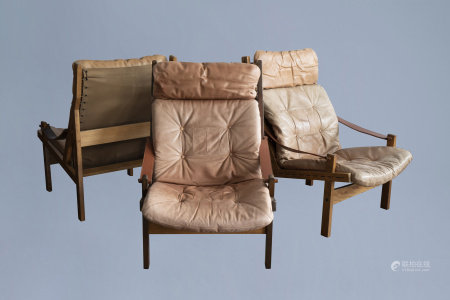 Torbjorn Afdal (1917-1999): Three 'hunter lounge' chairs, Norway, 1960's