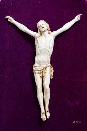 A large and finely carved ivory Corpus Christi, probably France, 18th C.