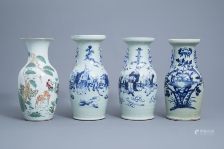 Three various Chinese blue and white celadon vases and a famille rose vase with a crane and deer, 19th/20th C.