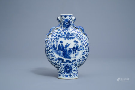 A Chinese blue and white moonflask with figures in a landscape and a bird among blossoming branches, 19th C.