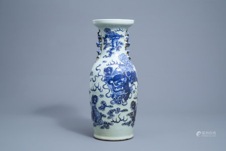 A Chinese blue and white celadon ground 'Buddhist lions' vase, 19th C.