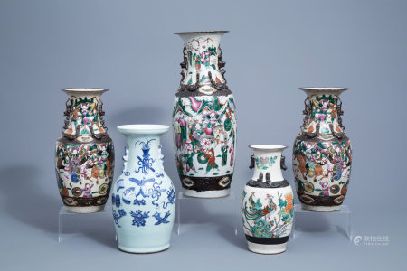 Four various Chinese Nanking crackle glazed famille rose and verte vases and a blue and white celadon vase with antiquities, 19th/20th C.