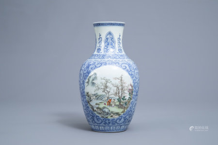 A Chinese blue and white vase with polychrome medallions, Qianlong mark, Republic, 20th C.