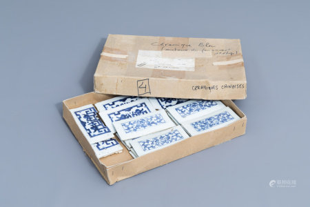 Nineteen rectangular Chinese blue and white tiles, 19th C.