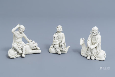 Three Chinese blanc de Chine 'Immortals' groups, seal marks, Republic, 20th C.