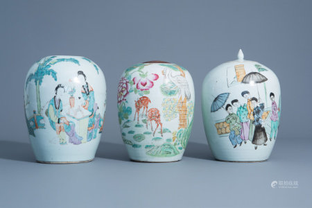 Three various Chinese qianjiang cai and famille rose jars, 19th/20th C.