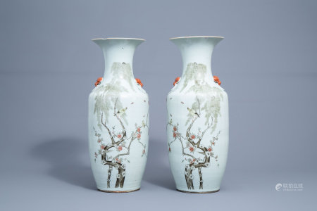 A pair of Chinese famille rose vases with birds and butterflies among flower branches, 19th/20th C.