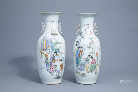 Two Chinese famille rose vases with figures on a terrace, 19th/20th C.
