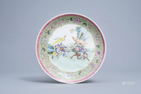 A Chinese famille rose 'warrior' charger, four-character mark, 20th C.