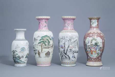 Four various Chinese famille rose and polychrome vases, 20th C.