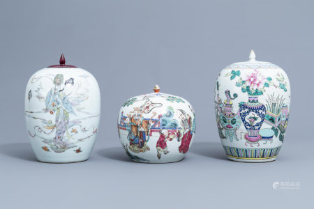 Three various Chinese famille rose ginger jars and jars and covers, 19th/20th C.