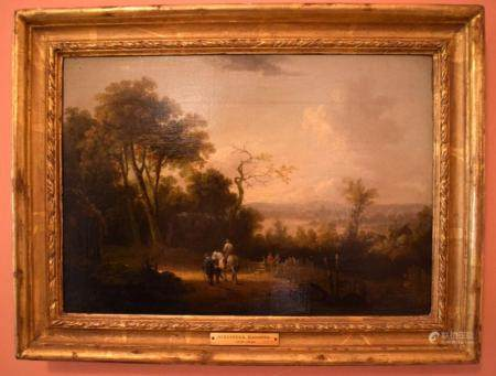 Alexander Naysmith (1758-1840) Oil on board, Figures roaming within a landscape. Image 32 cm x 20 cm.