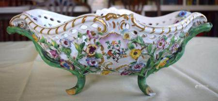 A LARGE LATE 19TH CENTURY MEISSEN PORCELAIN ENCRUSTED BASKET painted with flowers and naturalistic vines. 35 cm x 15 cm.