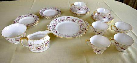 A ROYAL CROWN DERBY PRINCESS PATTERN SIX PIECE PORCELAIN TEASET painted and gilded in the 18th century style. (21)